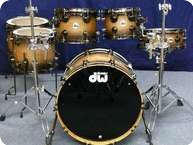 Dw DW Collectors Maple Exotic Shellset 2012 Candy Black Burst Over Heartwood Curly