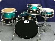 Dw DW Collectors Graphiys Drumset 2012 Course Tribal Band Over Pearlescent Aqua And Black High Gloss