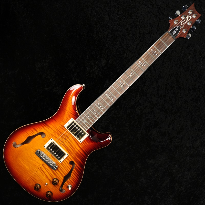 prs hollowbody ii 25th anniversary 10 top back flame with piezo smoked amber sold 0 guitar for. Black Bedroom Furniture Sets. Home Design Ideas
