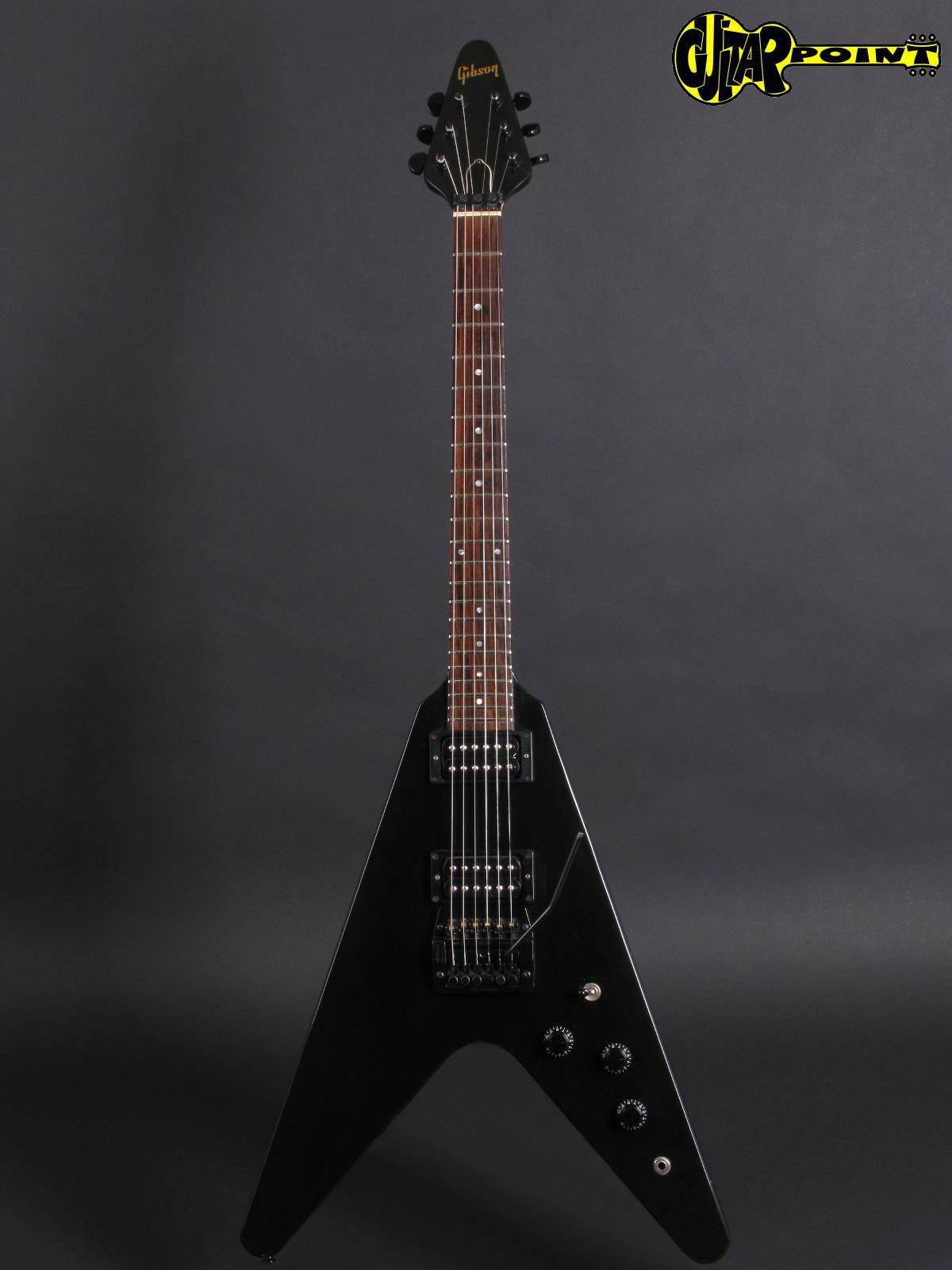 gibson flying v 1985 ebony black guitar for sale guitarpoint. Black Bedroom Furniture Sets. Home Design Ideas