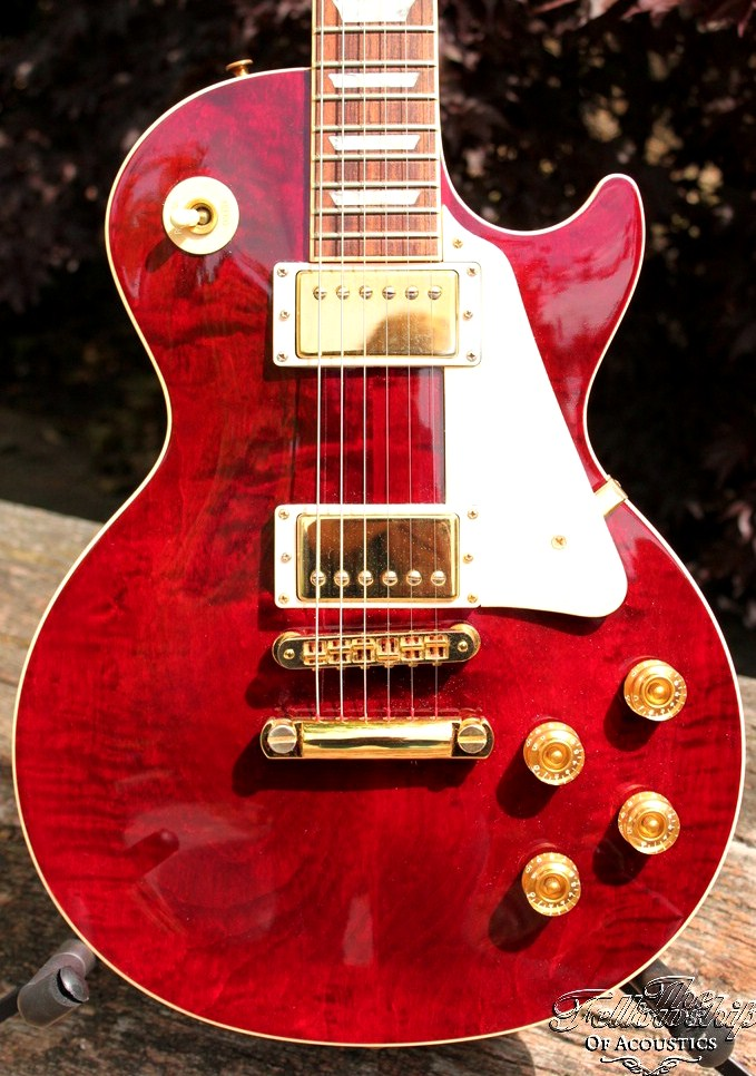 Gibson Les Paul Standard Custom Wine Red Quilt Amp Gold 1998 Guitar For Sale The Fellowship Of Acoustics