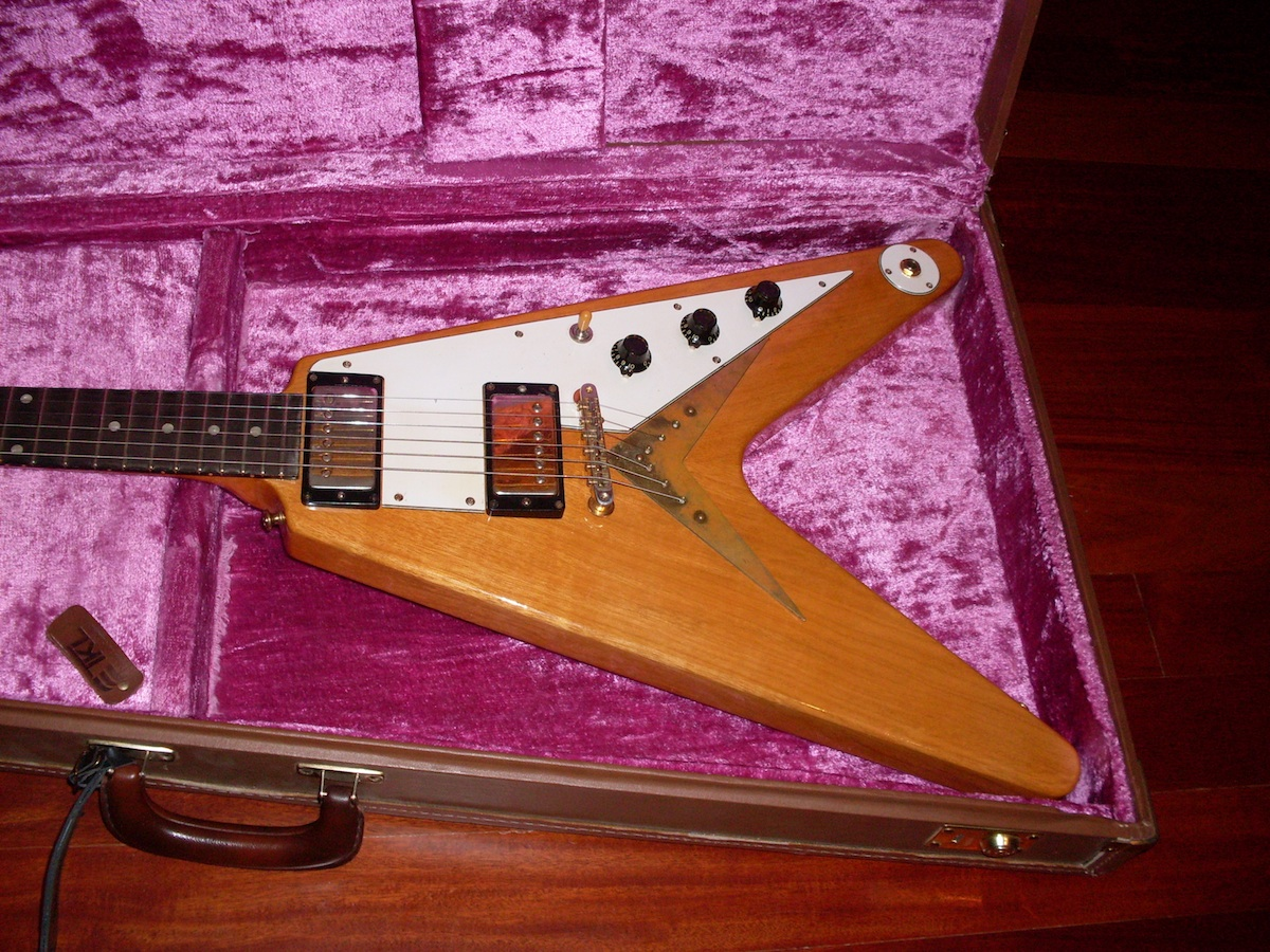 gibson flying v repro 1958 natural guitar for sale ok guitars. Black Bedroom Furniture Sets. Home Design Ideas