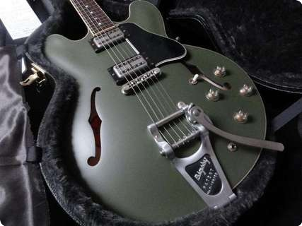 gibson es 335 chris cornell bigsby custom shop ltd of 250 2013 olive drab green guitar for sale. Black Bedroom Furniture Sets. Home Design Ideas