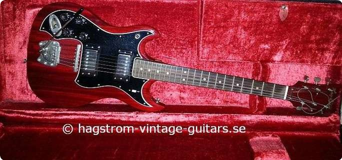 hagstrom hiin 1972 cherry guitar for sale hagstrom vintage. Black Bedroom Furniture Sets. Home Design Ideas