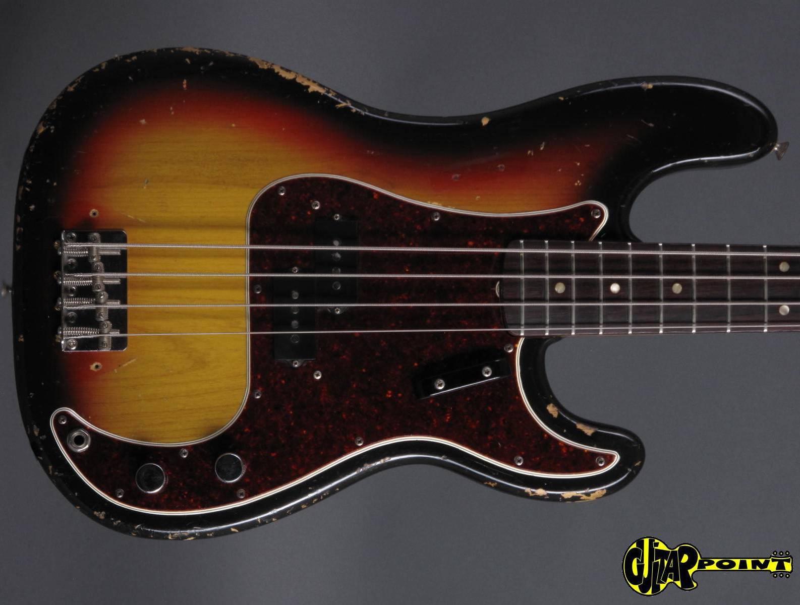 fender precision p bass 1966 3 tone sunburst bass for sale guitarpoint. Black Bedroom Furniture Sets. Home Design Ideas