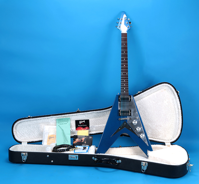 gibson flying v 2002 metallic blue. Black Bedroom Furniture Sets. Home Design Ideas