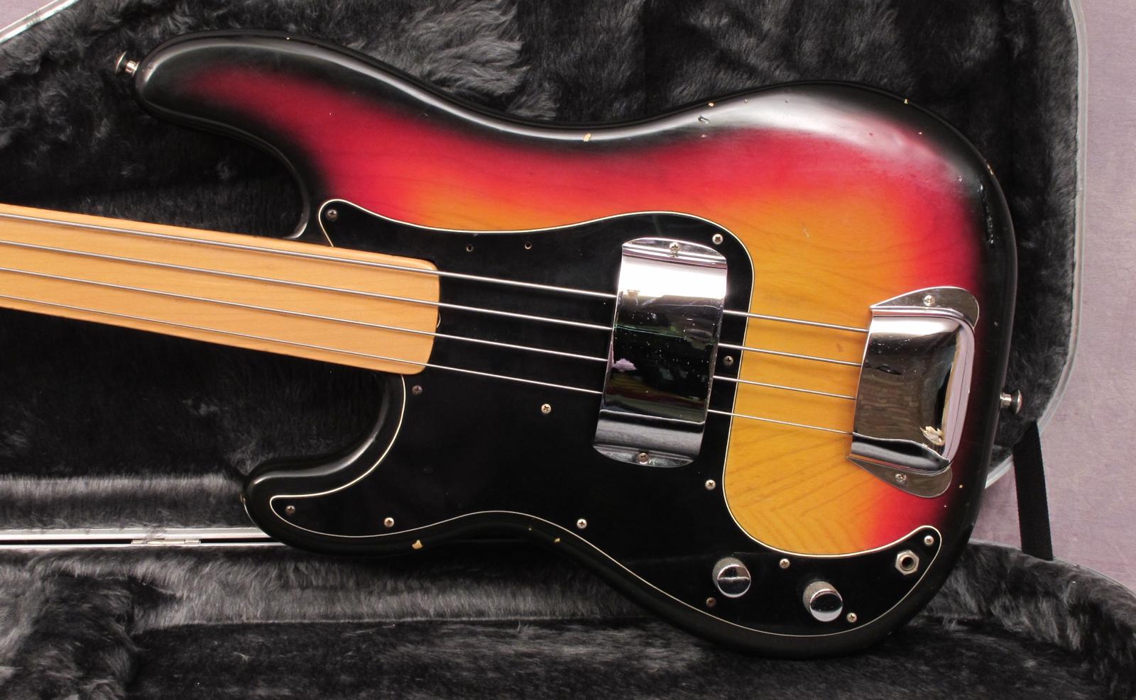 fender precision left handed 1977 sunburst bass for sale andy baxter bass guitars ltd. Black Bedroom Furniture Sets. Home Design Ideas