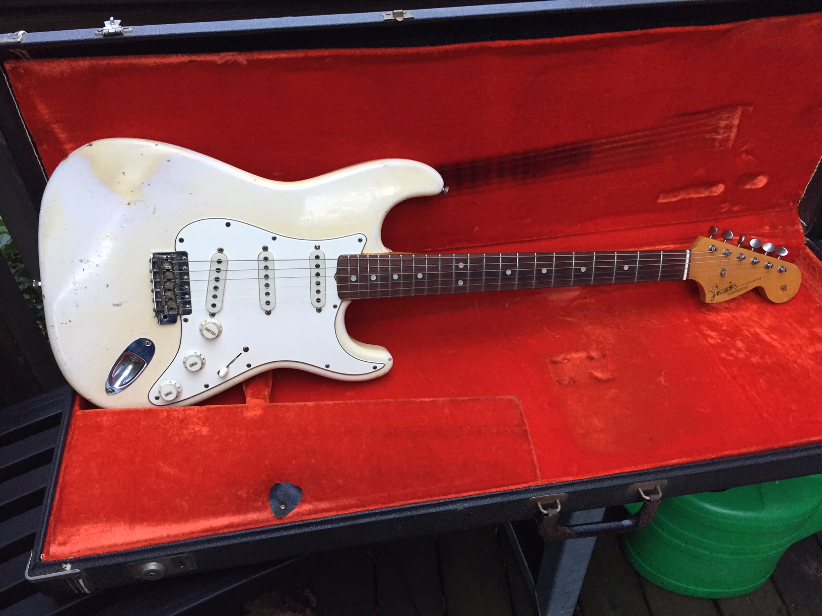 fender stratocaster 1966 olympic white guitar for sale anders anderson guitars. Black Bedroom Furniture Sets. Home Design Ideas