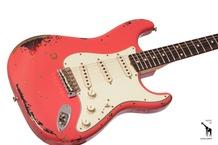 Fender Custom Shop Michael Landau Signature 1963 Relic Stratocaster 2015 Fiesta Red Over 3 Tone Sunburst