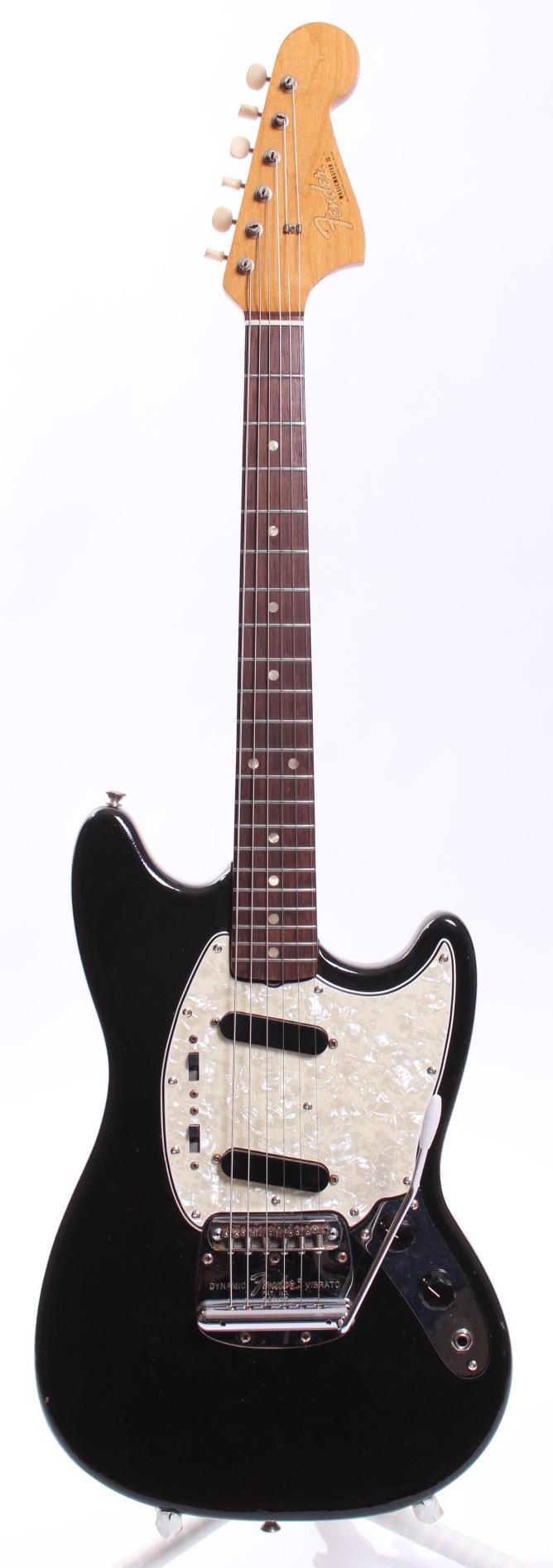 fender mustang musicmaster ii 1966 black guitar for sale yeahman 39 s guitars. Black Bedroom Furniture Sets. Home Design Ideas