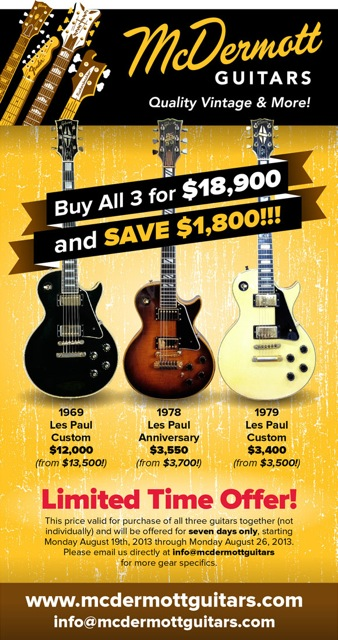 mcdermott guitars gibson offer small