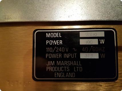 Marshall Jcm 800 Model 2210 1983