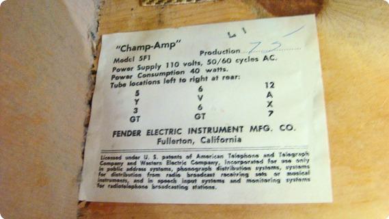 Fender Pre Cbs Champ 5f1 1962 Original Tweed