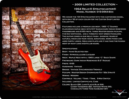 Fender  Stratocaster Custom Shop 1964 Relic Lim. Colletion 2009 Pickup Master Design Overwound Fat 50 2009