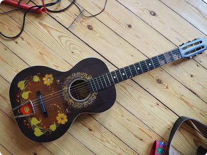 Stella Oscar Schmidt 'decalcomania' Concert Guitar  1930 Decalcomania