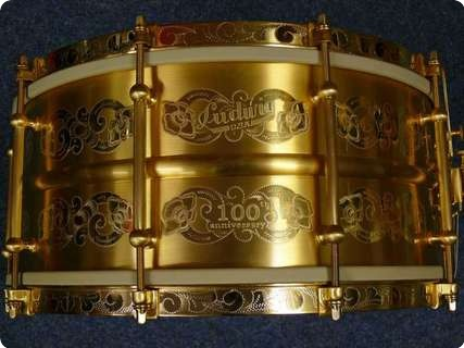 Ludwig 100th Anniversary Gold Triumphal Snaredrum 2016 Gold Plated   Handgraviert