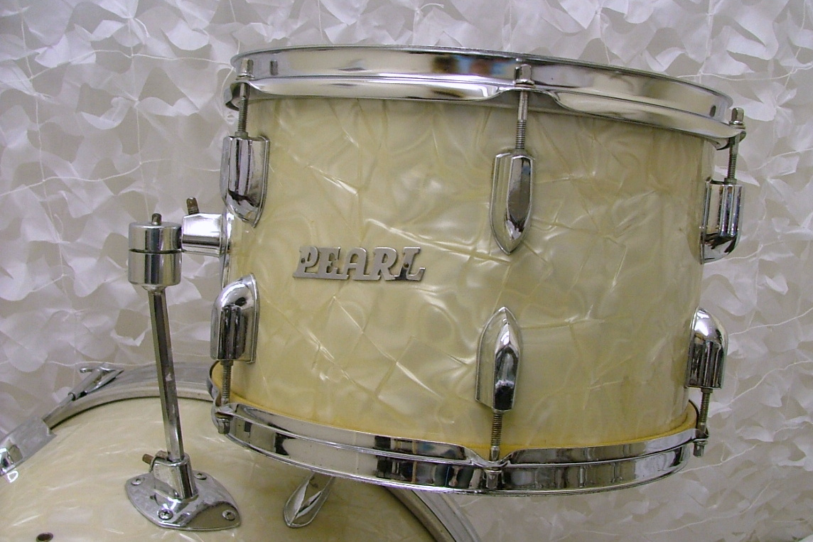 pearl drum kit 1960 39 s white marine pearl drum for sale nick hopkin drums. Black Bedroom Furniture Sets. Home Design Ideas