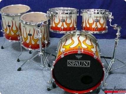 Spaun usa custom shell set silver rainbow flame flake for 18x18 floor tom