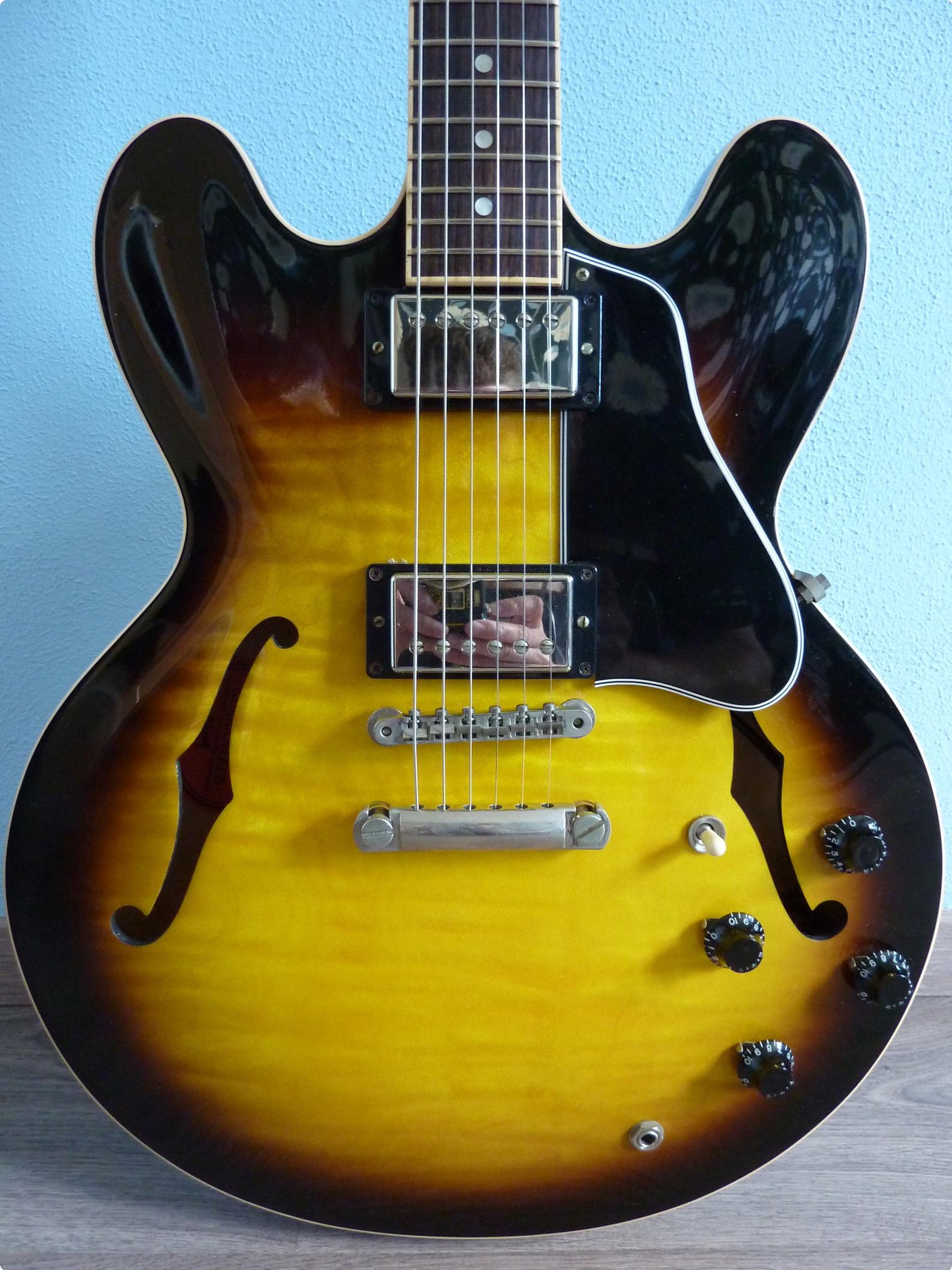 gibson es 335 dot reissue 2007 sunburst guitar for sale hender amps. Black Bedroom Furniture Sets. Home Design Ideas