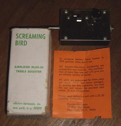 electro harmonix screaming bird treeble booster 1970 metal box effect for sale hendrix guitars. Black Bedroom Furniture Sets. Home Design Ideas