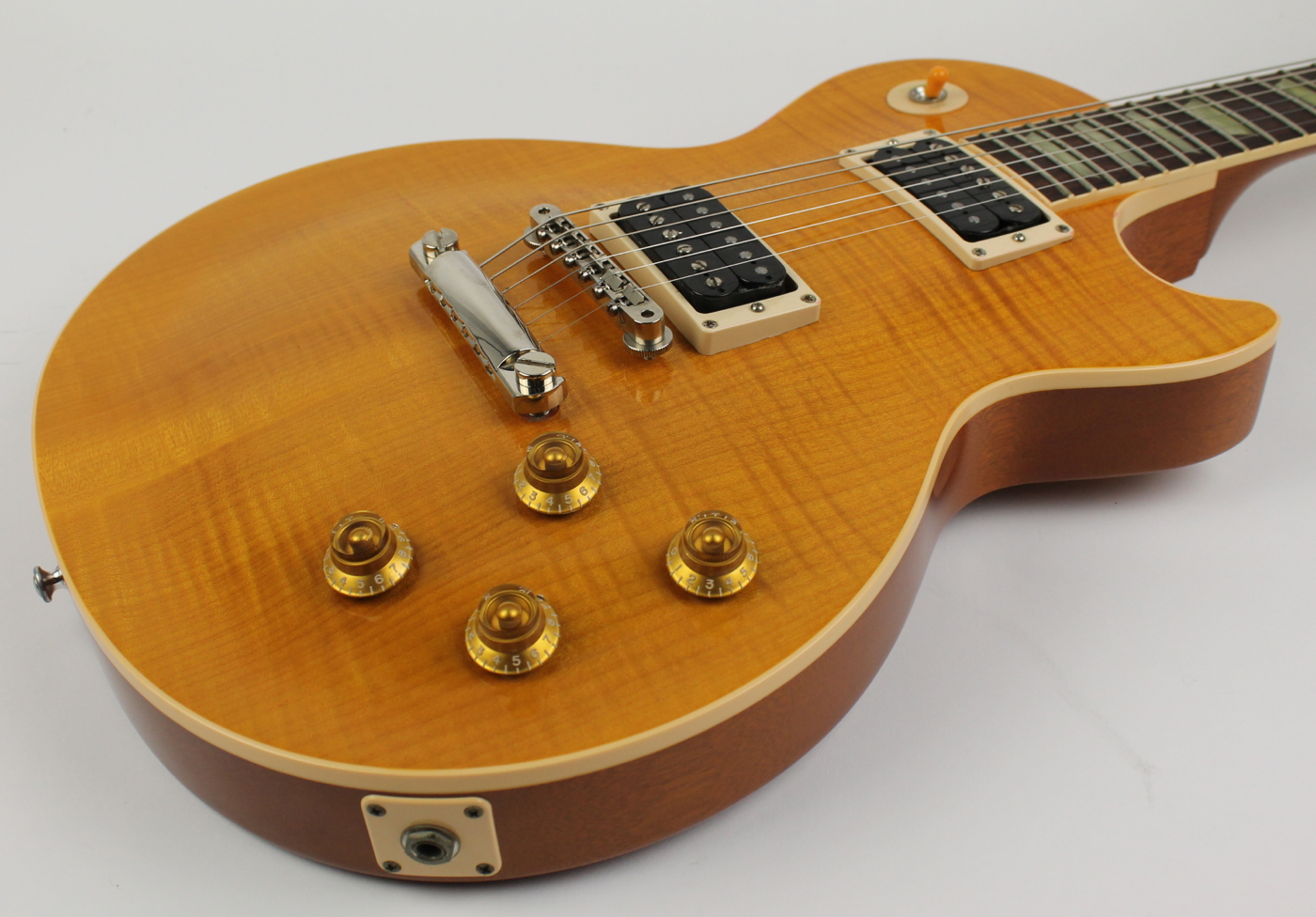 Gibson Les Paul Classic Plus 1997 Trans Amber Guitar For Sale Electric Ebony The Music