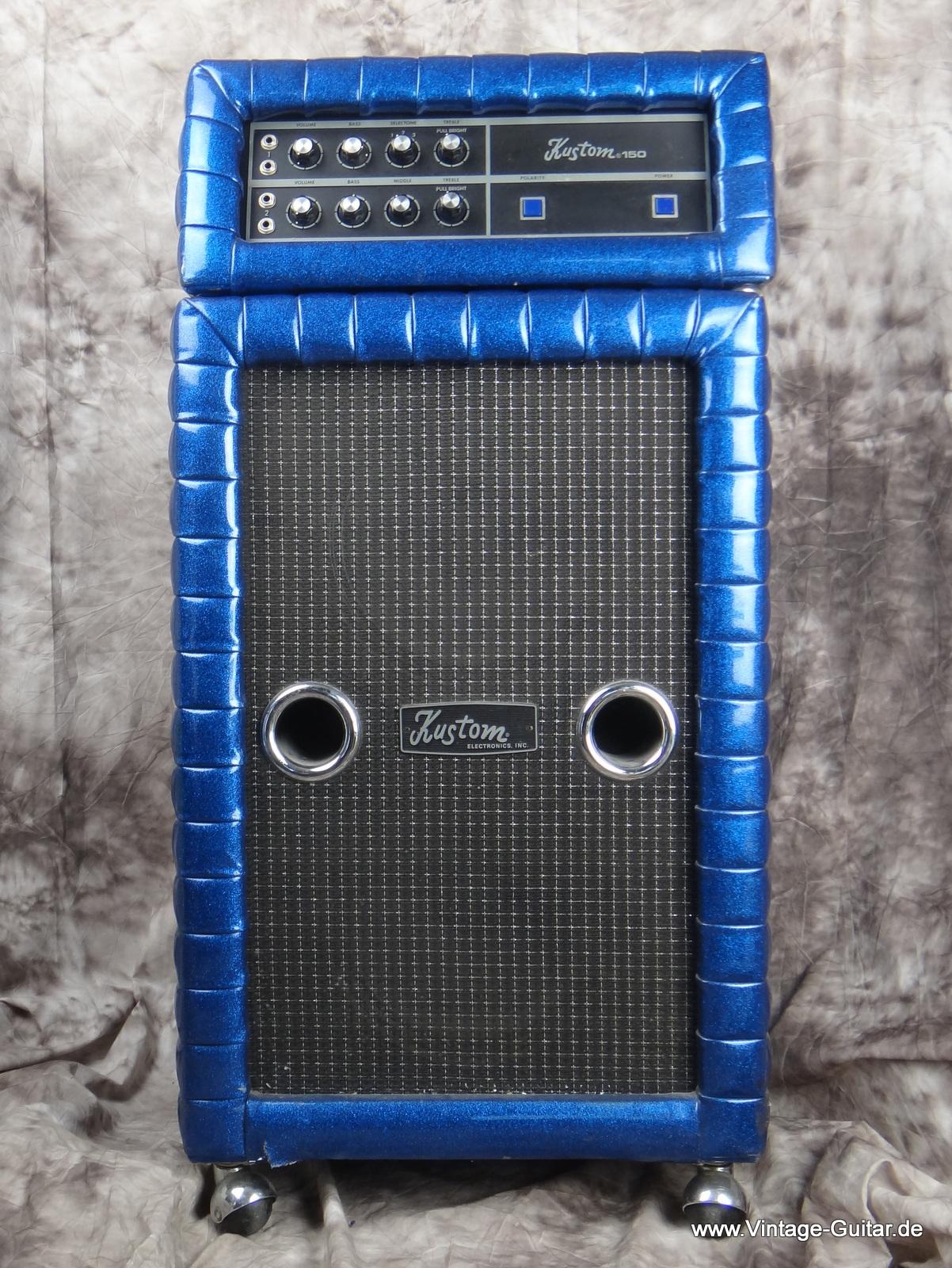 Kustom K 150 1 Top + 2 12B Cabinet 1970's Blue Sparkle Amp For ...