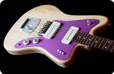Deimel Guitarworks FIRESTAR NATURAL SATIN W MAGENTA ALUMINUM ANODIZED PICKGUARD 2017 Natural Satin