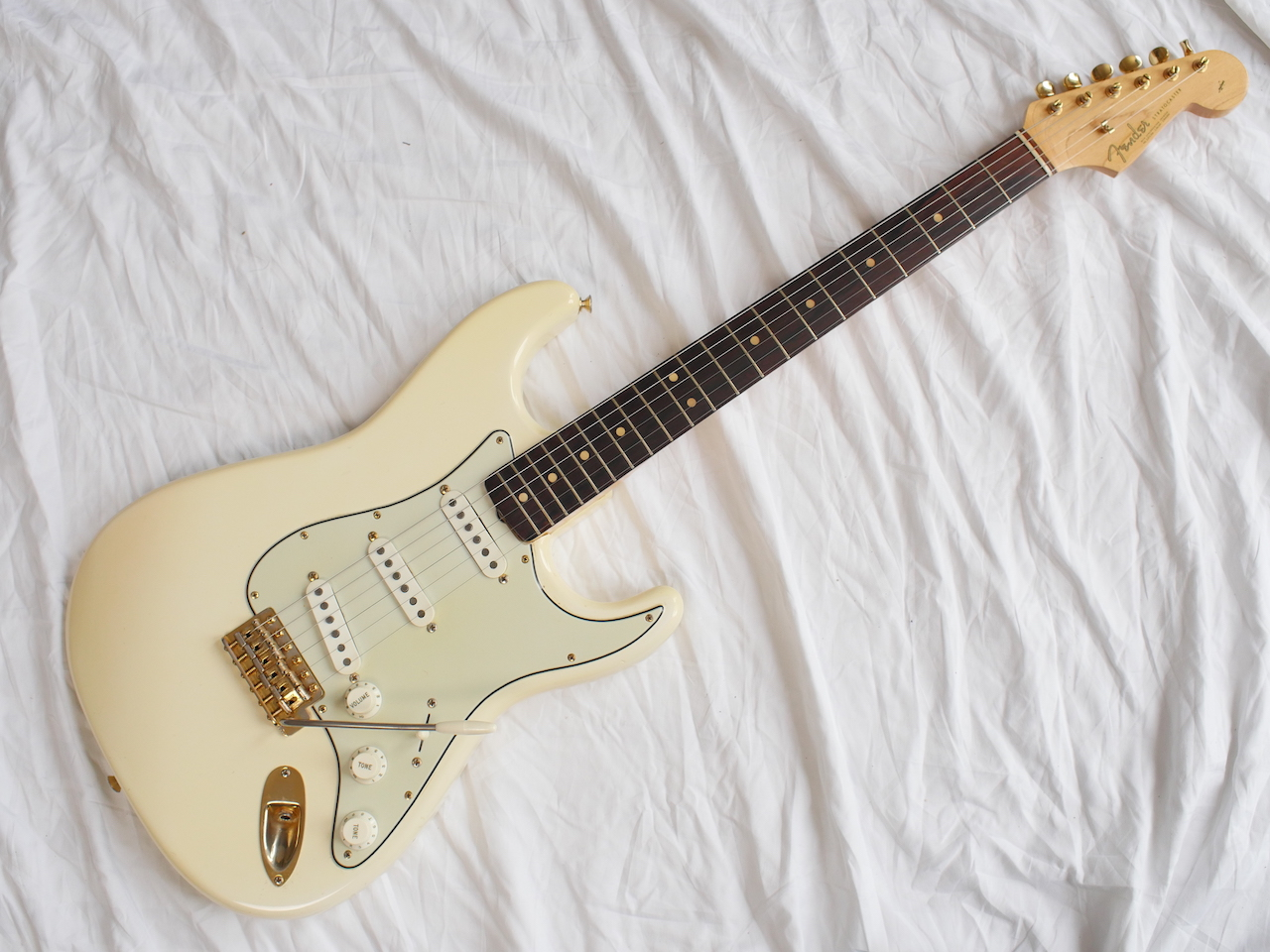 Fender Stratocaster 1963 Olympic White GOLD Hardware Guitar For Sale ...