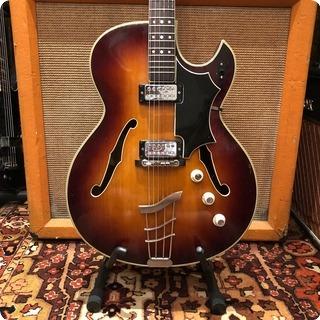 Hofner Vintage 1965 Hofner President Thinline Florentine Brunette Electric Guitar Case