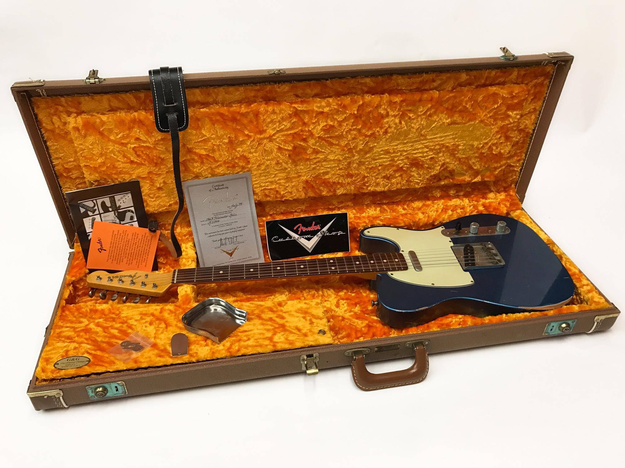 Fender Telecaster Custom Shop 63 Relic Pre Owned 1999 Model Lake Placid Blue Guitar For Sale