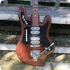 Welson ELLL Son Italian Bizarre Guitar 1964 Brown Wooden Effect Finish