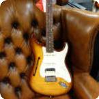Fender-Rarities Stratocaster Thinline HSS Solid Rosewood Neck-2019-Violin Burst