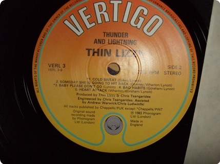 Thin Lizzy Thunder And Lightning ( Lp + 12 Vertigo / Verl3 1983